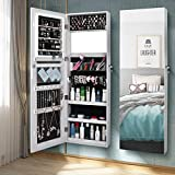 Jewelry Cabinet Armoire Mirrored Jewelry Armoire Lockable Wall/Door Mounted Jewelry Storage Organizer Armoire Gorgeous Jewelry Earring Organizer Makeup&Full-Length Mirror Large Capacity -US Stock