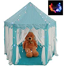 Intency Princess&Prince Castle Kids Play Tent Large Portable Children Playhouse with LED Star Lights for Boys Girls Toddlers-Blue