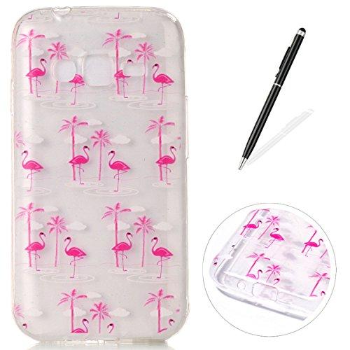 CaseHome Samsung Galaxy J1 Mini Prime gel de Silicona TPU Funda (Con Gratis Lápiz táctil) Guay ModaVistosoPatrónDiseñoCristalClaro Ultra FinoTransparenteEncaja PerfectoFlexibleSuaveCauchoPa Rosa de Flamingo