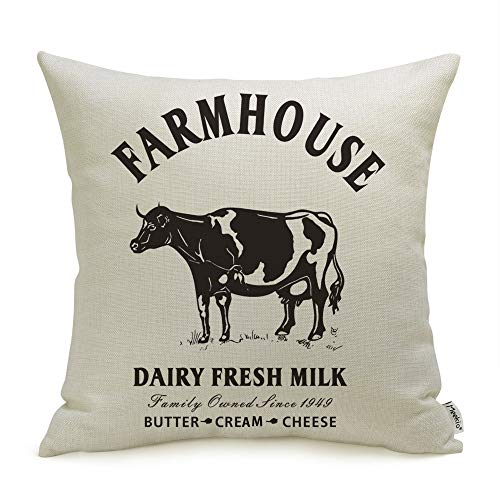 Meekio Farmhouse Pillow Covers With Cow 18 X 18 Inch For Farmhouse Decor