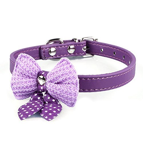 (Dogs Kingdom Adjustable Pu Leather Dog Puppy Pet Collars Knit Bowknot Necklace Purple S: 14.56 x 0.59