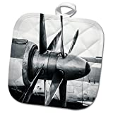 3dRose Alexis Photography - Abstracts of Aviation - Twin propellers of a vintage turboprop aircraft in black and white - 8x8 Potholder (phl_272037_1)