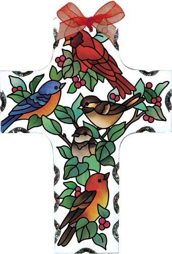 Stained Glass Cross Suncatcher - Birds of a Feather Cross Stained Glass Suncatcher (SX2501R)