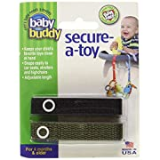 Baby Buddy Secure-A-Toy, Safety Strap Secures Toys, Teether, or Pacifiers to Strollers, Highchairs, Car Seats—Adjustable Length to Keep Toys Sanitary Clean Black-Olive 2 Count