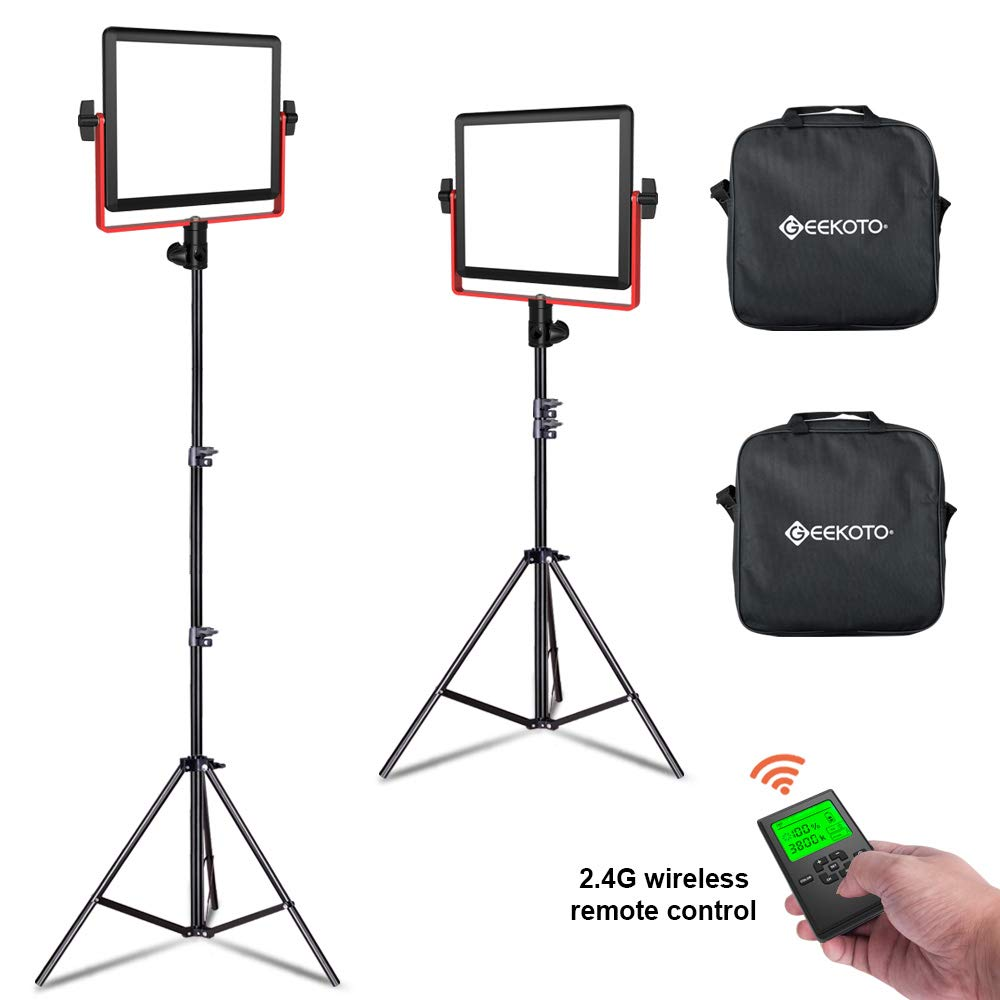 GEEKOTO LED Panel Light, 2 Pack 320 LED Video Light with LCD Display, Dimmable Bi-Color 3300-5600K Video Light and Stand for YouTube Studio Photography Video Shooting by GEEKOTO