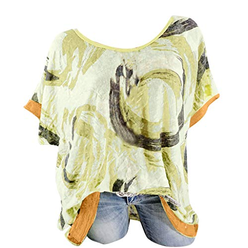 NCCIYAZ Womens T-Shirt Tops Ethnic Graffiti Printed Plus Size O-Neck Short Sleeve Ladies Oversized Blouse(M(8),Yellow-1)