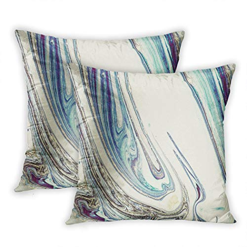 Lichtion Set of 2 Throw Pillow Covers Print Very Beautiful Marble Art Ocean Incorporates Swirls Marble Or Ripples Agate Natural Decorative Soft Bedroom Sofa Pillowcase Cushion Couch 20 x 20 Inch