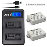 Arche LP-E5 LPE5 Replacement Battery <2 Pack> and LCD Dual USB Charger Set for [Canon EOS Rebel XS, Rebel T1i, Rebel XSi, 1000D, 500D, 450D, Kiss X3, Kiss X2, Kiss F Digital Camera, BG-E5 Grip]