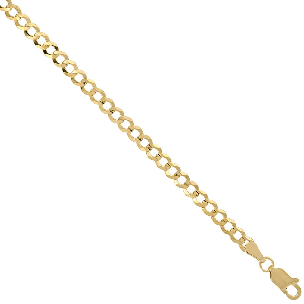 10K Yellow Gold 4mm Cuban Curb Chain Necklace Concaved Nickel Free, 22 inch