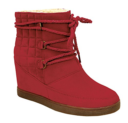 Yoga-2 Fashion Casual Lace-Up Hidden Wedge Heel Booties Shoes Red 10 (Red Flat Boots)