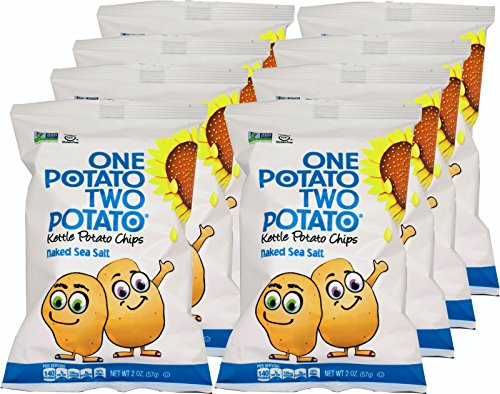 Kettle Baked Potato Chips (One Potato Two Potato, Naked Sea Salt Kettle Potato Chips, 2 oz (Pack of 8))