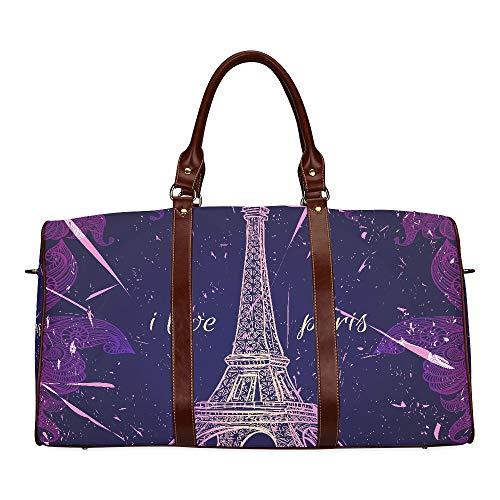 Large Leather Travel Duffel Bag For Men Women Retro Vintage Paris Eiffel Tower Purple Printing Waterproof Overnight Weekend Bag Luggage Tote Duffel Bags For Travel Gym Sports School Beach ()