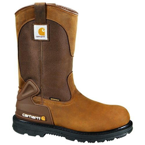 "Carhartt Men's 11"" Wellington Waterproof Soft Toe Pull-On Leather Work Boot CMP1100"