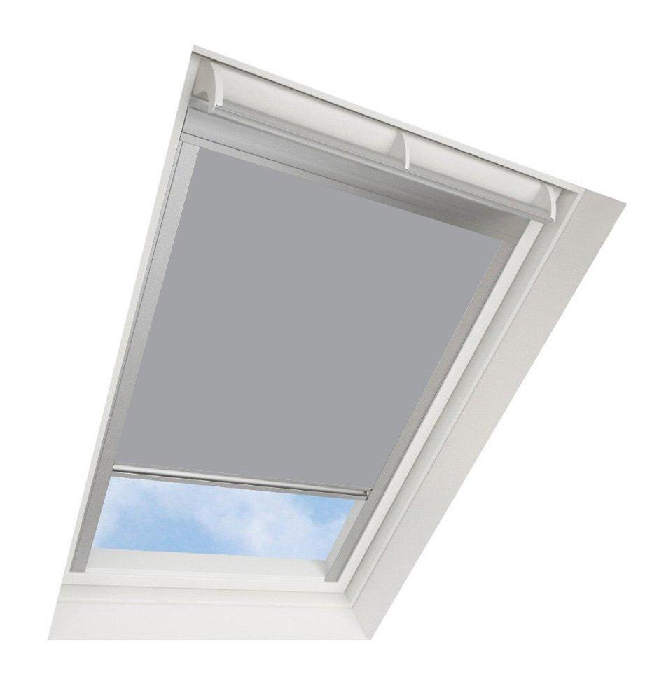 Darkona Dachfensterrollo für VELUX-Dachfenster - Verdunkelungsrollo - Zahlreiche Farben Zahlreiche Größen (CK04, Grau) - Silberner Aluminiumrahmen