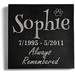 A Personalized Memorial Pet Headstone Customized - Always Remembered - 6 x 6 Granite