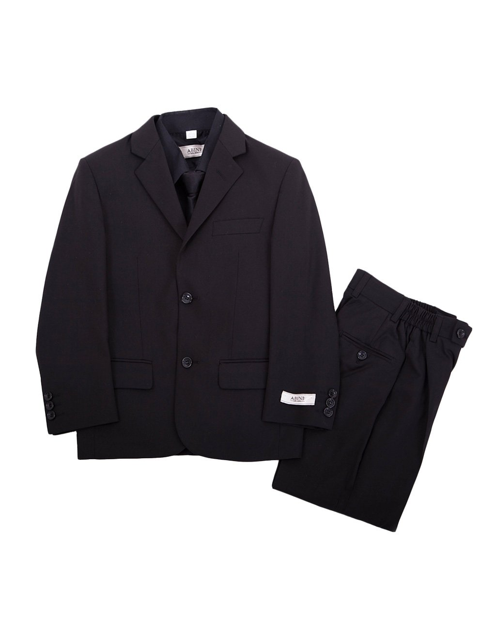 Black Boys Complete Classic Suit Set, Pleated Pants, Vest, Shirt, Tie & Jacket