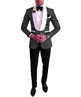 Men s Two Pieces Suit Blazer Shawl Lapel Groommen Tuxedo for Wedding Polka  Dots (Blazer+ 7c1b406a201d