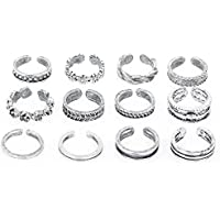 12PCs set Celebrity Jewelry Retro Silver Adjustable Open Toe Ring Finger Foot LOVE STORY