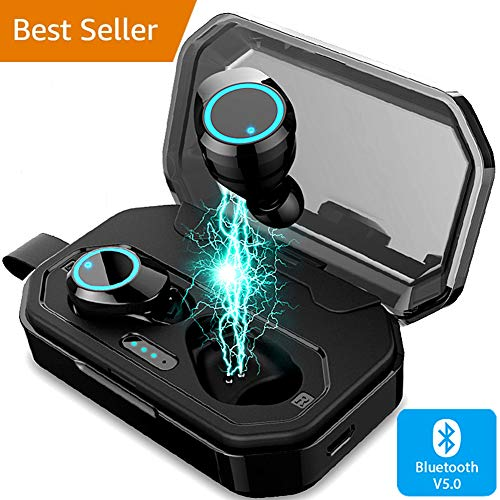 Bluetooth 5.0 Earbuds TWS in-Ear Headphones Built-in Mic True Wireless Stereo 2019 Newest Version Deep Bass Mini Touch Control Earbuds, Wireless Hi-Fi 3D Stereo Headset with 4000mAh Charging Case