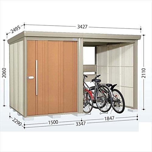 タクボ物置 TP/ストックマンプラスアルファ TP-33R22 一般型 標準屋根 『駐輪スペース付 屋外用 物置 自転車収納 におすすめ』 トロピカルオレンジ B00V5L2524
