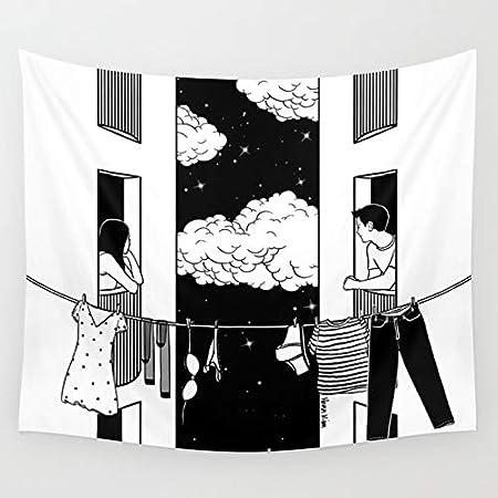N / A Pop Art Blanco y Negro Tapiz Creativo rectángulo Personalidad Dibujos Animados Sala de Estar Dormitorio decoración del hogar decoración de Fondo Colgante de Pared HB12 130x150cm
