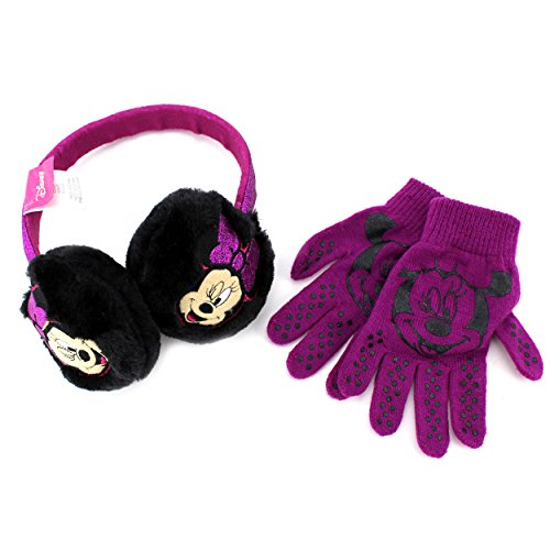 Disney Nickelodeon Girls Earmuffs and Gloves Set (Black Minnie Mouse)