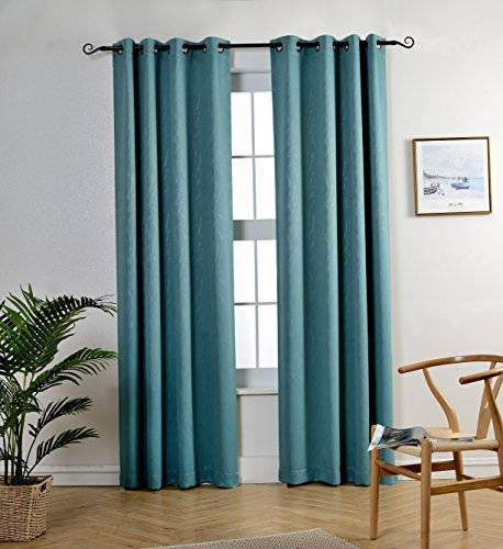 r Kids Room by MYSKY HOME Grommet Top Thermal Insulated Leaf Embossed Room Darkening Drapes for Living Room (Teal, 52