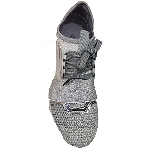 Fantasia Boutique Ladies Glitter Metallic Breathable Lace Up Walking Gym Fashion Trainers Sneakers Silver wCAqg