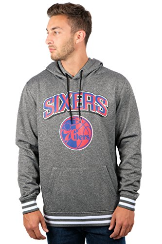 NBA Men's Fleece Hoodie Pullover Sweatshirt Rib Stripe, Team Logo Gray