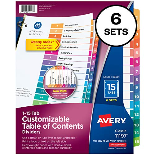Avery Ready Index 15-Tab Binder Dividers, Customizable Table of Contents, Multicolor Tabs, 6 Sets (11197) ()