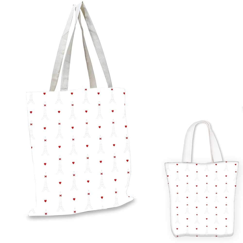 12x15-10 Eiffel canvas messenger bag Lovely Soft Eiffel Tower Pattern with Cute Hearts Flowers Butterflies and Dots shopping bag for women Beige Multicolor