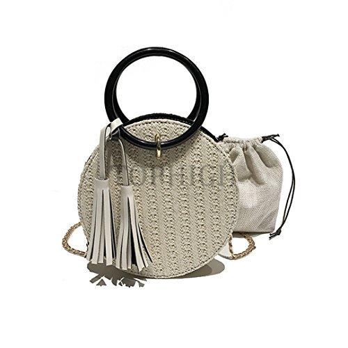 Bag Women Straw Beach Bag Rattan Bali Bohemia Small Bag Lady Shoulder Bags Circle Handmade Vintage Crossbody Handbags Tassel White E37 Bl