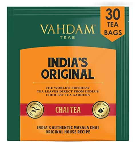 VAHDAM, India's Original Masala Chai Tea Bags, 30 TEA BAGS, 100% NATURAL SPICES & NO ADDED FLAVOURING - Blended & Packed in India - Black Tea, Cardamom, Cinnamon, Black Pepper & Clove