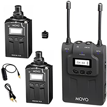 movo wmic80 uhf wireless xlr microphone system with 2 plug in xlr transmitters. Black Bedroom Furniture Sets. Home Design Ideas