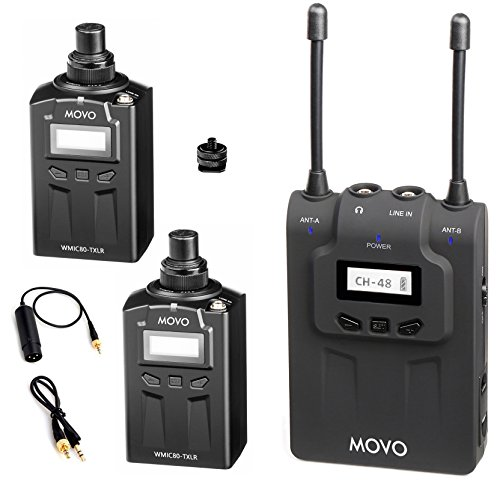 Movo WMIC80 UHF Wireless XLR Microphone System with 2 Plug-in XLR Transmitters, Portable Receiver, Shoe Mount for DSLR Cameras (330' (Plug In Wireless System)