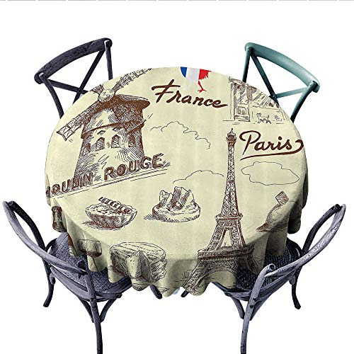 Eiffel Tower Decor Collection Printed Circle Tablecloth Patisserie Restaurant Drink Traditional Food Cheese Tasty Menu Sketchy Doodles Image Stain Resistant Wrinkle Tablecloth (Round, 60 Inch, Sepia R -