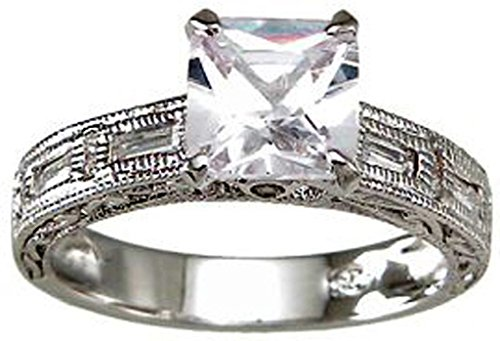 Rhodium-Plated-925-Sterling-Silver-Pave-Princess-Cut-CZ-Ring