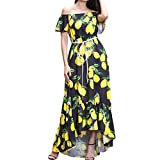 Flurries Women Dress, Womens Floral Printed Boho Long Sleeve Maxi Dress with Belt Evening Party (XXL, Black)