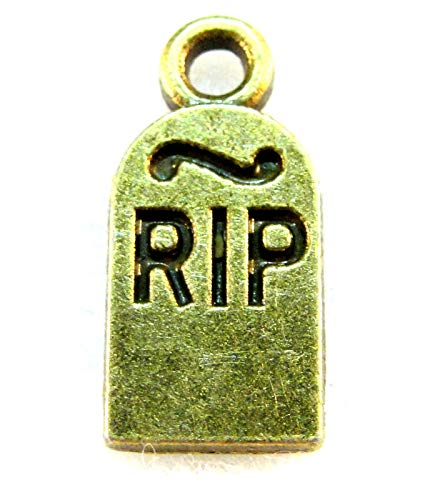 10Pcs. Tibetan Antique Bronze RIP Tombstone Halloween Charms Pendants HW04A Crafting Key Chain Bracelet Necklace Jewelry Accessories Pendants