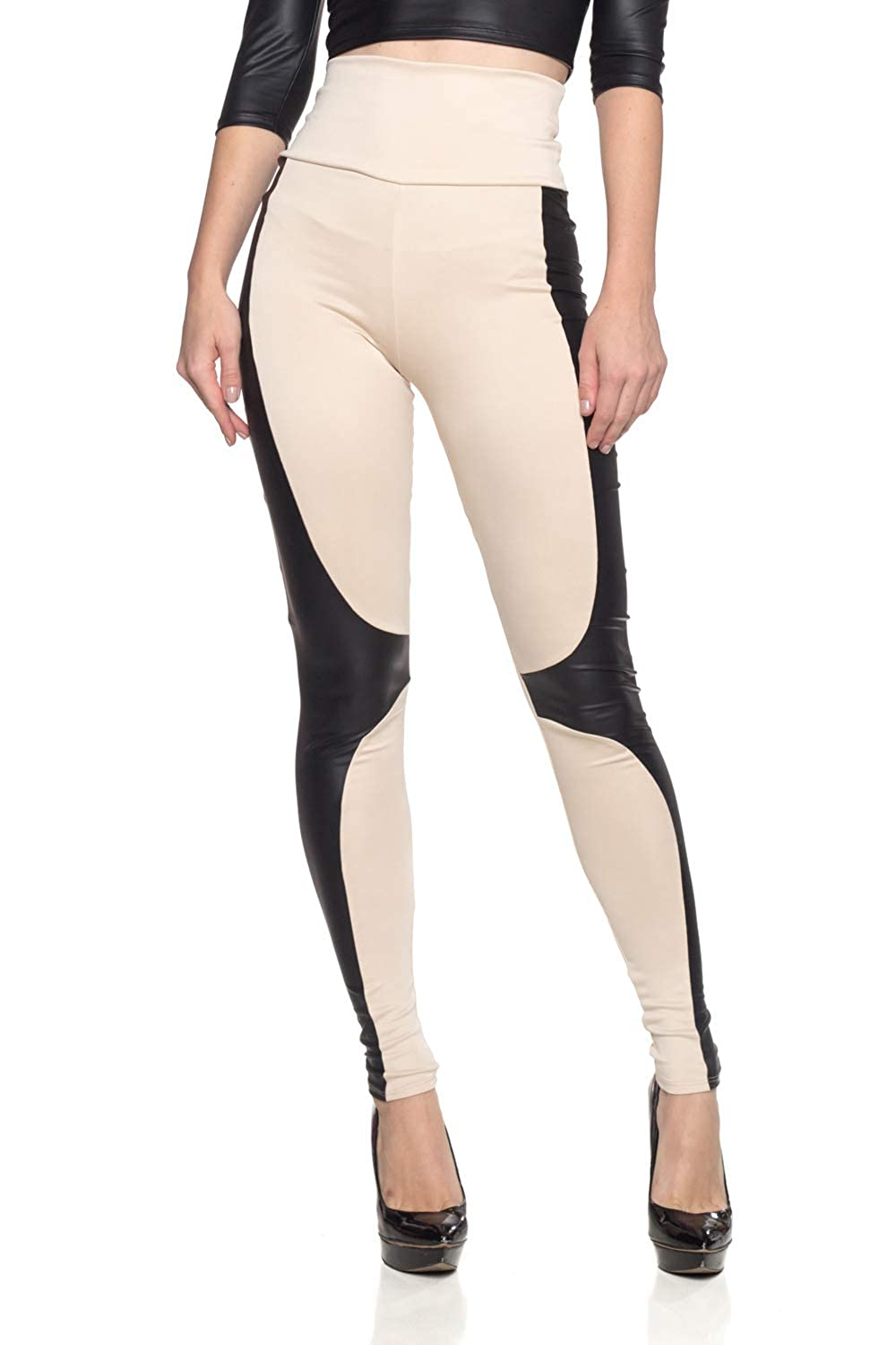 1621e6477ebcee High quality scuba fabric (92% Polyester 8% Spandex) Stretchy knit leggings  feature moto-inspired faux leather insets along the sides and knees.