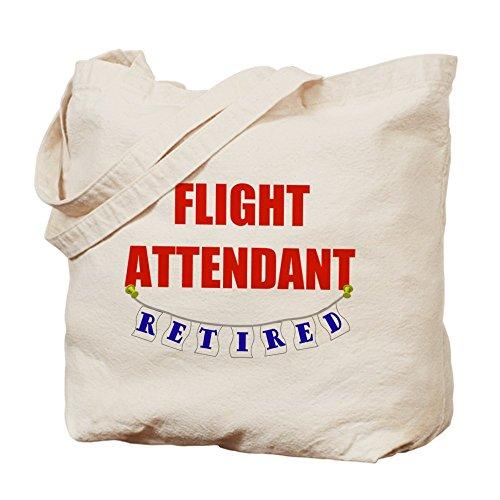 Cafepress–Retired Flight Attendant–Borsa di tela naturale, tessuto in iuta