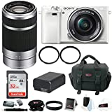 Sony Alpha a6000 Mirroless Camera (White) w/ 16-50mm & 55-210mm Lens (Silver) and 32GB SD Card Bundle