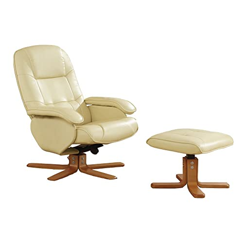 Stress Away Leather Recliner Swivel Chair 360° Rotation With Foot Stool  (Cream)