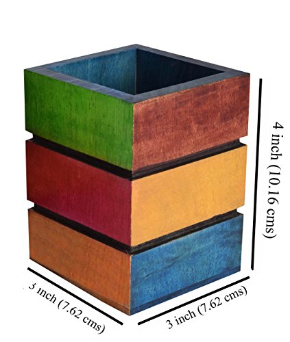 Hashcart Wooden Pen Stand In Colorful Finish (4x3x3 inch) …