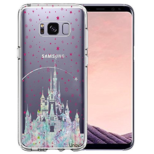 Samsung Galaxy S8 Case, Unov Clear with Design Soft TPU Shock Absorption Slim Embossed Pattern Protective Back Cover for Galaxy S8 (Watercolor Castle)