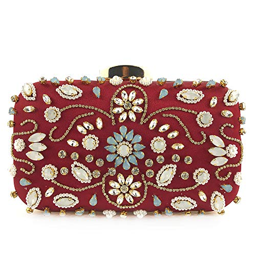 Women Noble Crystal Beaded Evening Bag Wedding Clutch Purse Burgundy