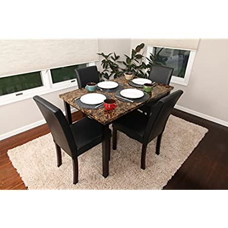 5 PC Thick Marble Black Leather 4 Person Table And Chairs Brown Dining Dinette Black Parson Chair 150250 Black
