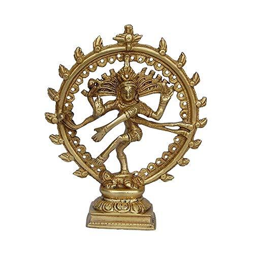 Statua in Ottone con Dio ind/ù Shiva Dancing Nataraja Natraj Decorazione per la casa Nicedeal Tempio Mandir 15,2 cm