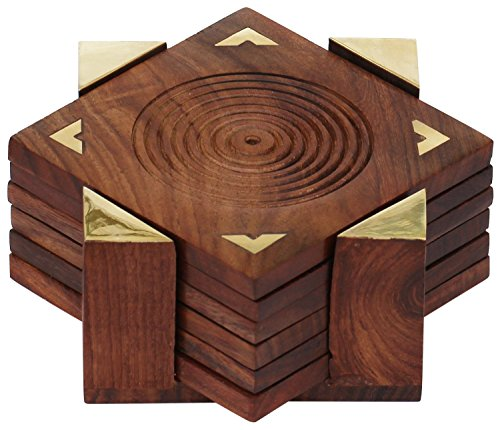 Hand Carved Fine Wood - Fine Polished Set of 6 Hand Carved Wooden Drink Square Coasters & Holder with Beautiful Brass Inlay Barware & Kitchen Tabletop Accessory Home Living room Decor