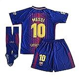 #3: Newois Barcelona Home #10 Messi Kids Or Youth Soccer Jersey & Shorts & Socks Set 2017-2018 Season Red/Blue